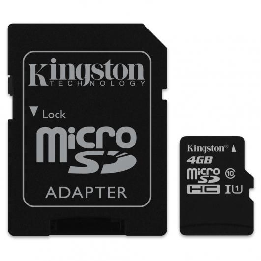 Kingston 4GB Micro SDHC (MicroSD) Memory Card Inc Adapter U1 10MB/s