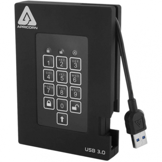 Apricorn Aegis Fortress 500GB USB 3.0 Padlock Encrypted Hard Drive With Pin FIPS 140-2 Level 3