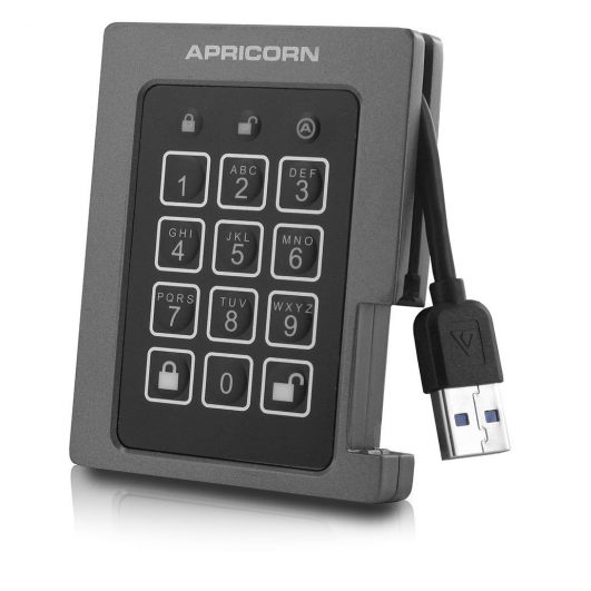 Apricorn Aegis 480GB USB 3.0 Padlock SSD Hard Drive FIPS 140-2 Level 2