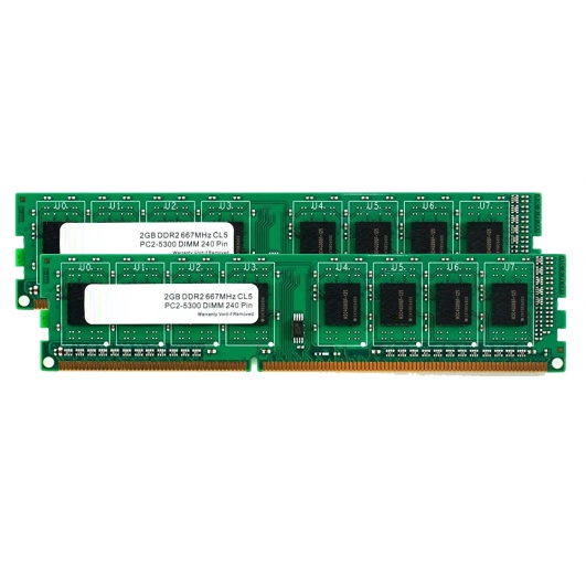 4GB (2GB x2) DDR2 RAM Memory Non ECC DIMM 667Mhz PC2-5300