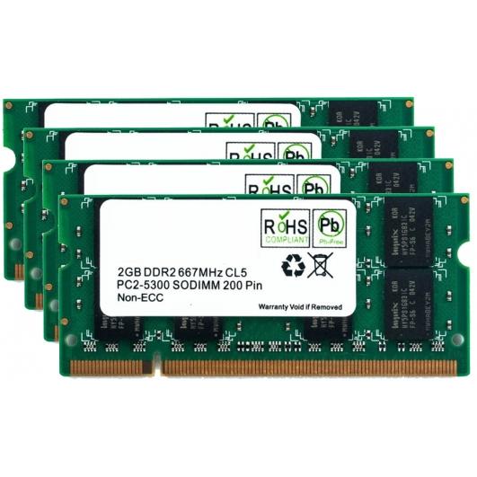 8GB (2GB x4) DDR2 RAM Memory Non ECC SODIMM 667Mhz PC2-5300