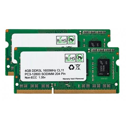 8GB (4GB x2) DDR3L RAM Memory Non ECC SODIMM 1600Mhz PC3L-12800