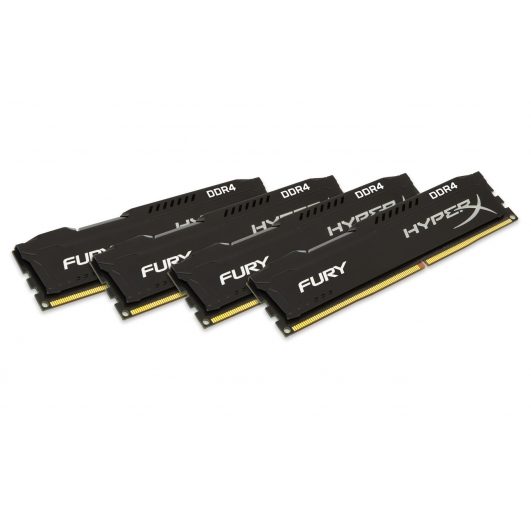HyperX Fury HX426C16FBK4/64 Black 64GB (16GB x4) DDR4 2666Mhz Non ECC Memory RAM DIMM