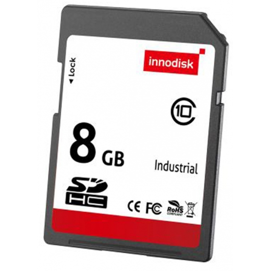 Innodisk 8GB Industrial SD (SDHC) Card 3.0, MLC, Class 10, -20C/+85C, 54MB/s R, 18MB/s W