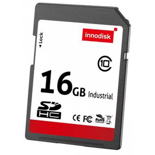 Innodisk 16GB Industrial SD (SDHC) Card 3.0, MLC, Class 10, -20C/+85C, 54MB/s R, 18MB/s W