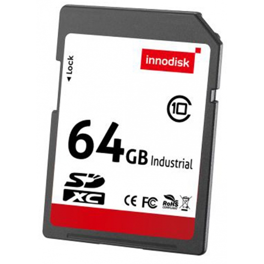 Innodisk 64GB Industrial SD (SDXC) Card 3.0, MLC, Class 10, -20C/+85C, 54MB/s R, 18MB/s W