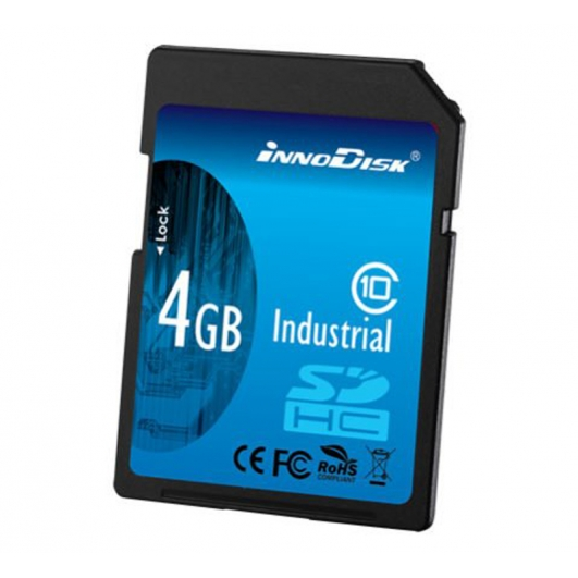 Innodisk 4GB Industrial SD (SDHC) Card 1.01/2.0, SLC, Class 10, 0C/+70C, 20MB/s R, 16MB/s W