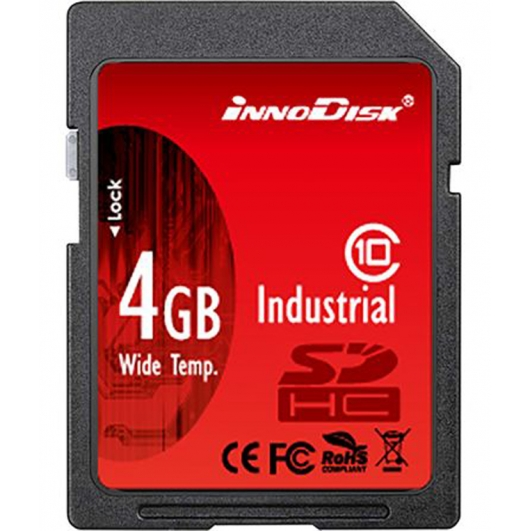 Innodisk 4GB Industrial SD (SDHC) Card 1.01/2.0, SLC, Class 6, -40C/+85C, 20MB/s R, 16MB/s W