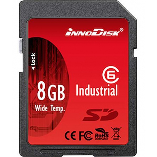 Innodisk 8GB Industrial SD (SDHC) Card 1.01/2.0, SLC, Class 6, -40C/+85C, 20MB/s R, 16MB/s W