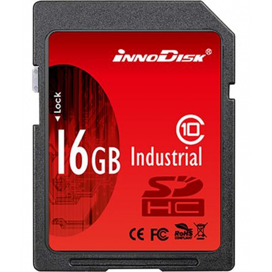 Innodisk 16GB Industrial SD (SDHC) Card 1.01/2.0, SLC, Class 6, -40C/+85C, 20MB/s R, 16MB/s W
