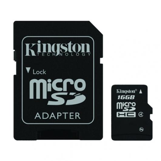 Kingston 16GB microSDHC (microSD) Memory Card Inc Adapter 4MB/s