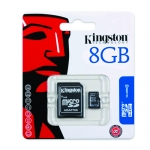 Kingston 8GB microSDHC (microSD) Memory Card Inc Adapter 4MB/s