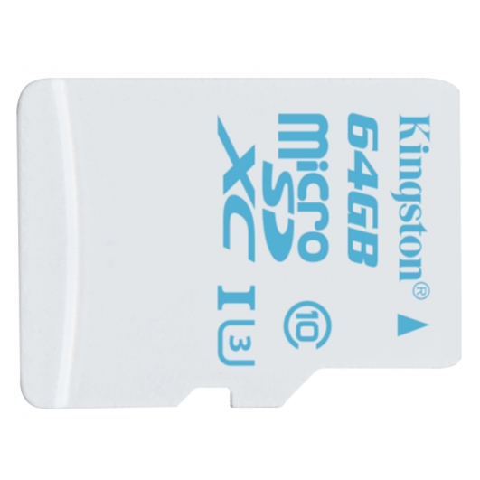 Kingston 64GB microSDXC Memory Card Action Cam Inc Adapter U3 90MB/s