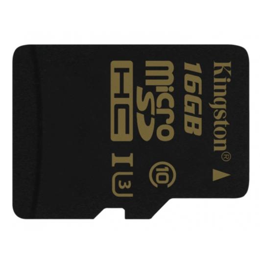 Kingston Gold 16GB microSDHC (microSD) Memory Card Inc Adapter U3 90MB/s