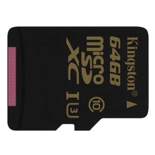 Kingston Gold 64GB microSDXC Memory Card Inc Adapter U3 90MB/s