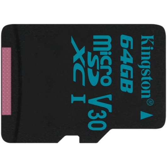 Kingston 64GB Canvas Go microSDXC Memory Card Inc Adapter U3 90MB/s V-Class 30