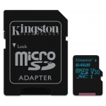 Kingston 64GB Canvas Go microSDXC Memory Card Inc Adapter U3 90MB/s V-Class 30