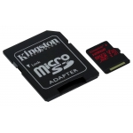 Kingston 128GB Canvas React microSDXC Memory Card Inc Adapter U3 100MB/s V-Class 30 A1