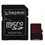 Kingston 256GB Canvas React microSDXC Memory Card Inc Adapter U3 100MB/s V-Class 30 A1
