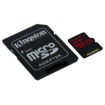 Kingston 64GB Canvas React microSDXC Memory Card Inc Adapter U3 100MB/s V-Class 30 A1