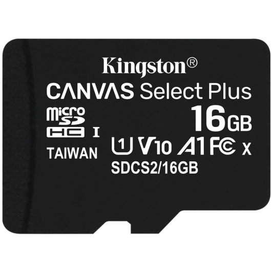 Kingston 16GB Canvas Select Plus Micro SD Card - U1, V10, A1, Up To 100MB/s