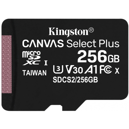 Kingston 256GB Canvas Select Plus Micro SD Card - U3, V30, A1, Up To 100MB/s