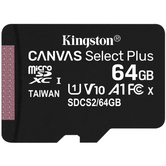 Kingston 64GB Canvas Select Plus Micro SD (SDXC) Card U1, V10, A1, 100MB/s R, 10MB/s W