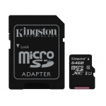 Kingston 64GB microSDXC Memory Card Inc Adapter U1 45MB/s G2