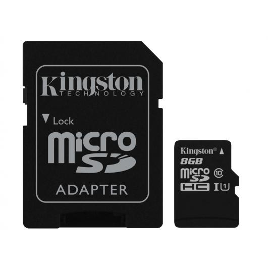 Kingston 8GB microSDHC (microSD) Memory Card Inc Adapter U1 45MB/s G2