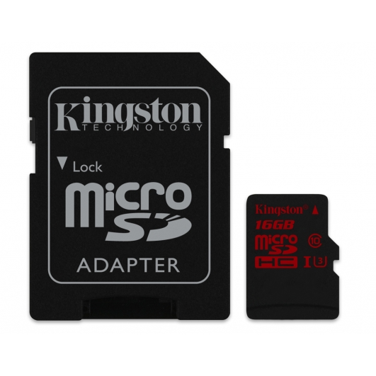Kingston 16GB Micro SDHC (MicroSD) Memory Card Inc Adapter U3 90MB/s