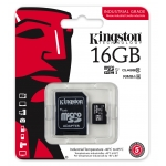Kingston 16GB Industrial microSDHC (microSD) Memory Card Inc Adapter U1 90MB/s
