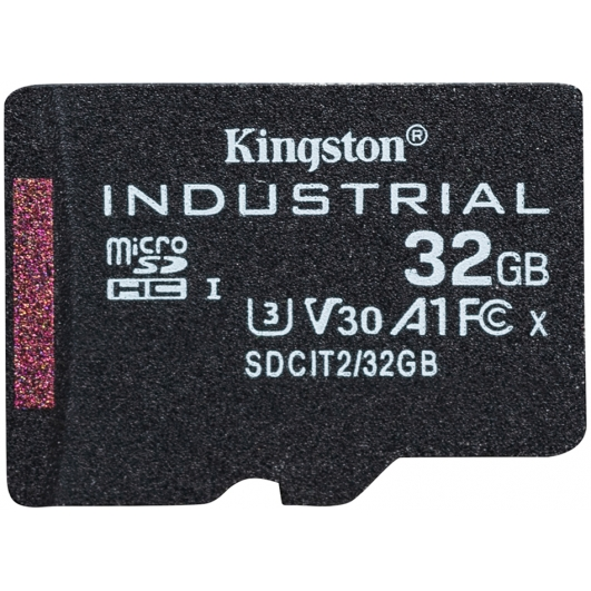 Kingston 32GB Industrial Micro SD (SDHC) Card U3, V30, A1, 100MB/s R, 80MB/s W, No Adapter