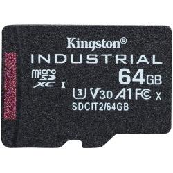 Kingston 64GB Industrial Micro SD (SDXC) Card U3, V30, A1, 100MB/s R, 80MB/s W, No Adapter