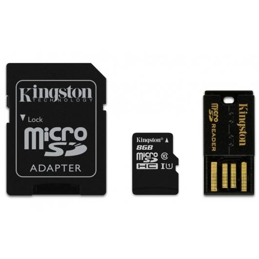 Kingston 8GB microSDHC (microSD) Memory Card With Reader U1 10MB/s