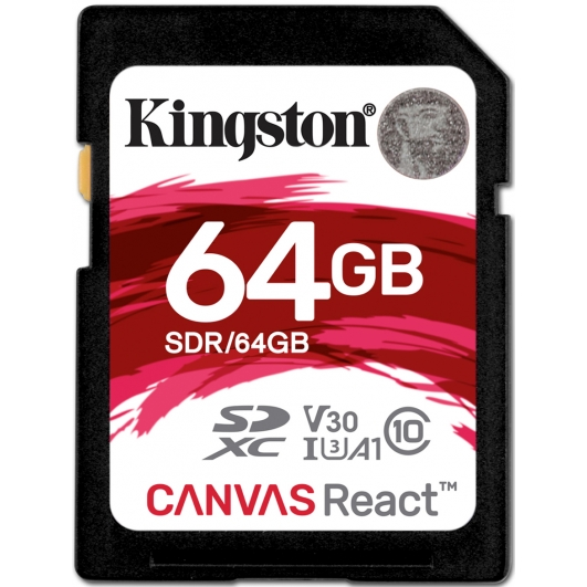 Kingston 64GB Canvas React SD Card