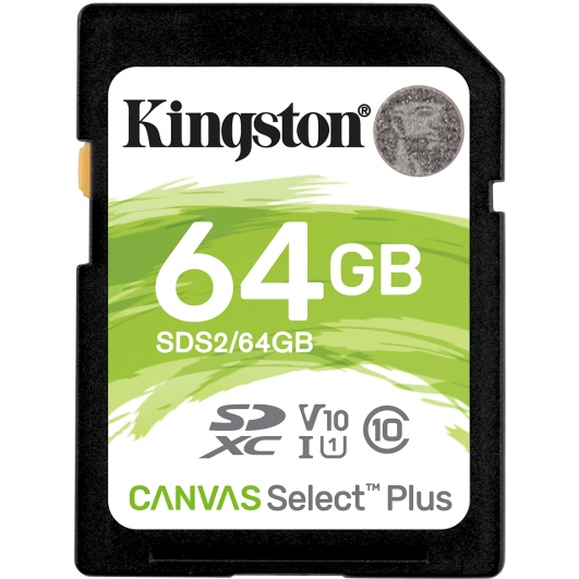 Kingston 64GB Canvas Select Plus SD Card - U1, V10, Up To 100MB/s