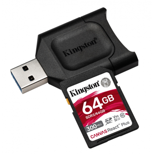Kingston 64GB Canvas React Plus SD Card - U3, V90, Up To 300MB/s