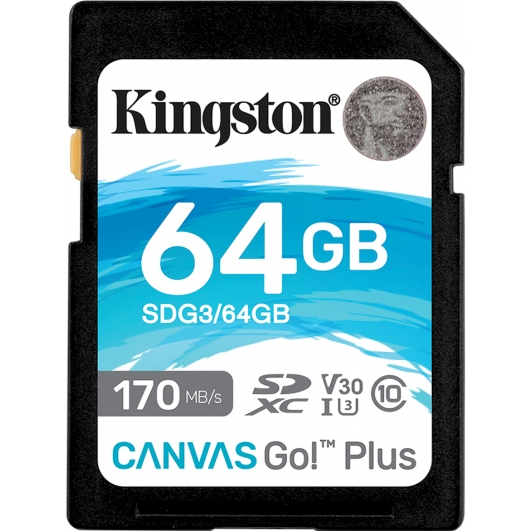 Kingston 64GB Canvas Go Plus SD Card - U3, V30, Up To 170MB/s
