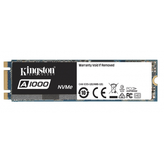 Kingston 240GB A1000 SSD M.2 (2280), NVMe, PCIe 3.0 (x2), 1500MB/s R, 800MB/s W