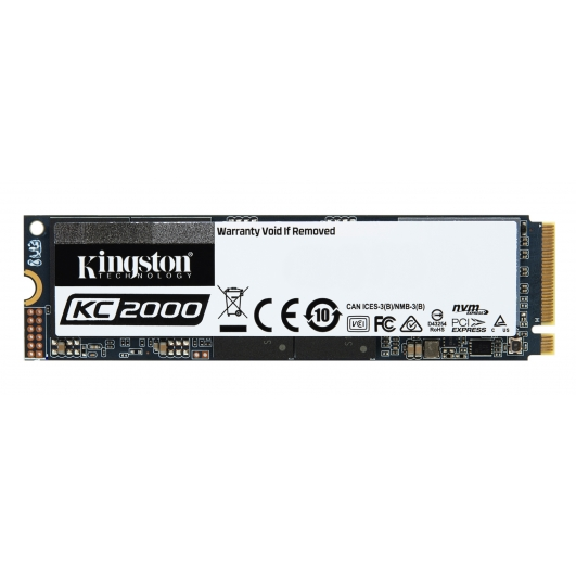 Kingston 1TB (1000GB) KC2000 SSD M.2 (2280), NVMe, PCIe 3.0 (x4), 3200MB/s R, 2200MB/s W