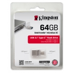 Kingston 64GB DataTraveler microDuo USB 3.1 Type C Memory Stick Flash Drive