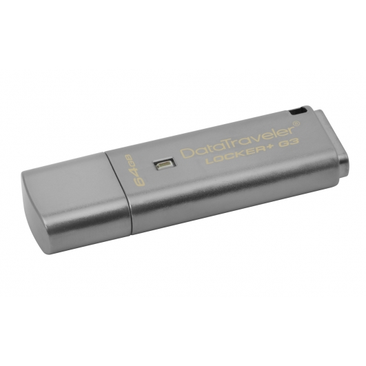 Kingston 64GB DataLocker+ G3 Encrypted Flash Drive USB 3.0, 135MB/s