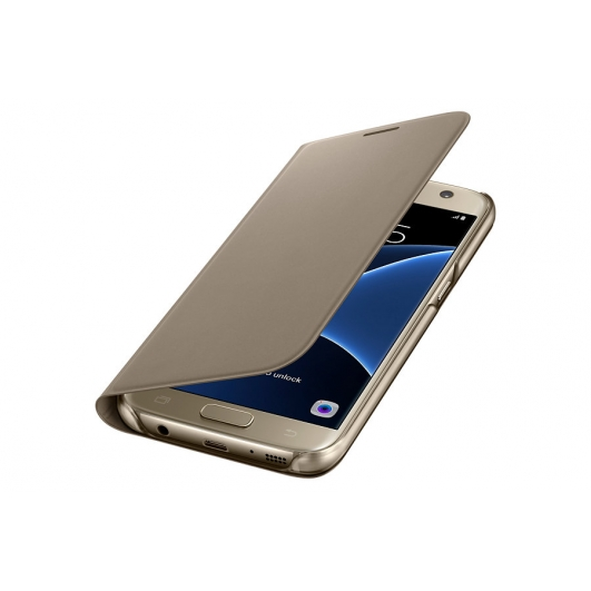 Original Samsung Galaxy S7 Edge Flip PU Leather Case Gold