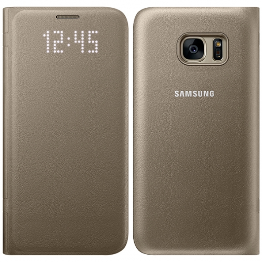Original Samsung Galaxy S7 LED View Leather Case Gold