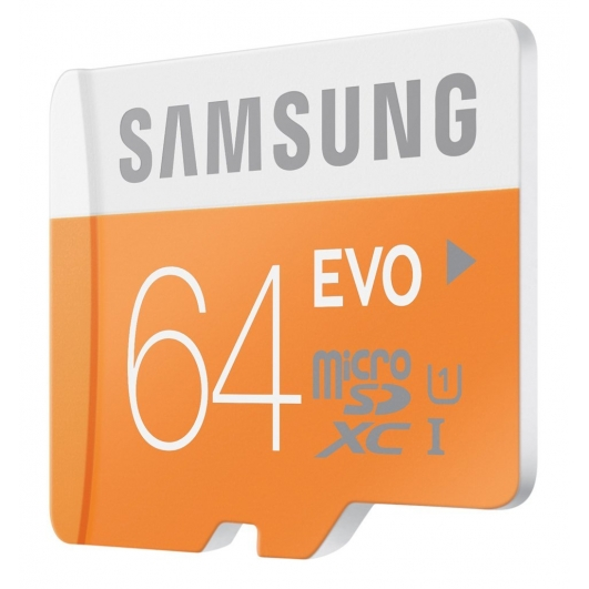 Samsung 64GB EVO microSDXC Memory Card Inc Adapter U1 48MB/s