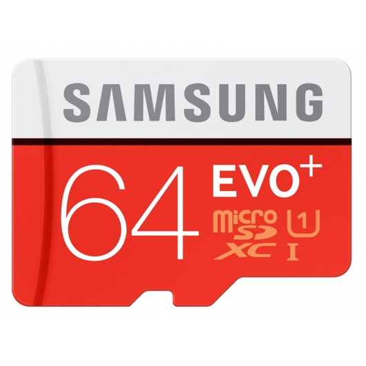 Samsung 64GB EVO+ microSDXC Memory Card Inc Adapter U1 80MB/s