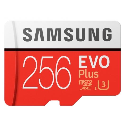 Samsung 256GB EVO Plus microSDXC Memory Card Inc Adapter U3 100MB/s