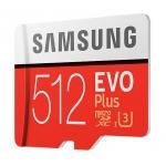 Samsung 512GB EVO Plus microSDXC Memory Card Inc Adapter U3 100MB/s