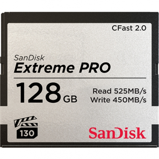 SanDisk 128GB Extreme Pro CFast 2.0 Card VPG130 525MB/s R, 450MB/s W