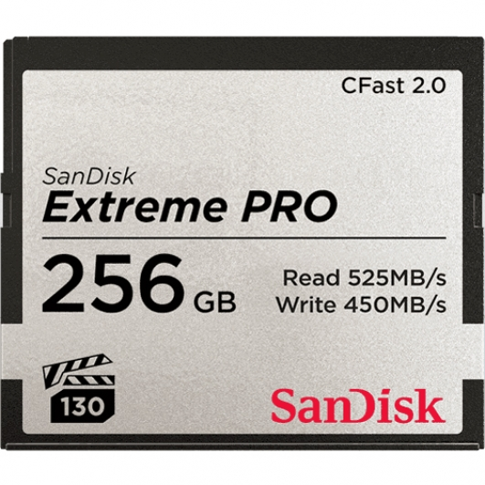 SanDisk 256GB Extreme Pro CFast 2.0 Card VPG130 525MB/s R, 450MB/s W